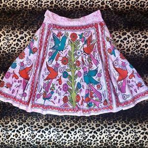 Anthropologie Odille Folk Art Bird Midi Skirt
